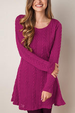 Solid Ribbed Casual Knitted Sweater Dress