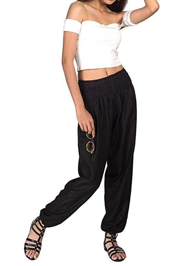 Solid Pockets Stretch Waistband Pants