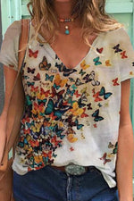 Butterfly Print Paneled V-neck Casual Short Sleeves T-shirt