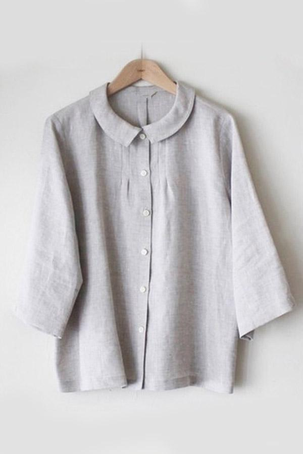 Button Down Long Sleeves Shirt Collar Blouses
