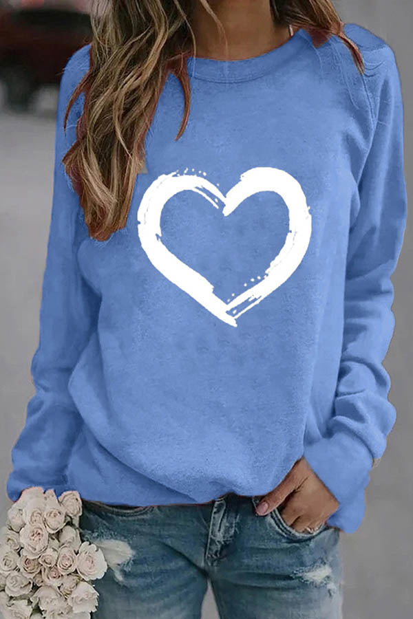 Classic White Heart Shaped Print Raglan Sleeves T-Shirt