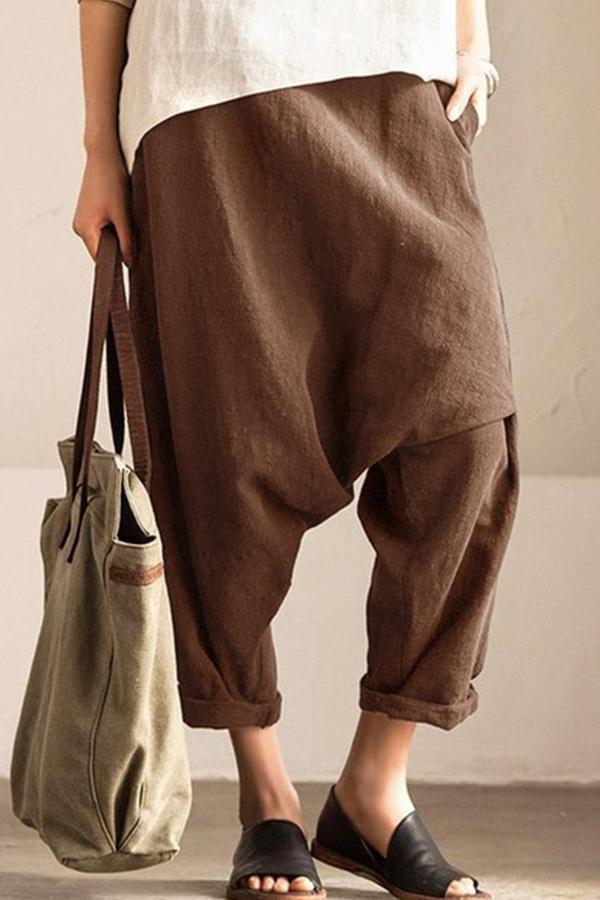 Plus Size Plain Harem Pants