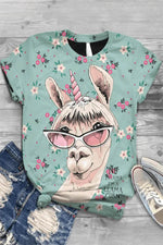 Cartoon Donkey Floral Print Paneled Casual Crew Neck T-shirt