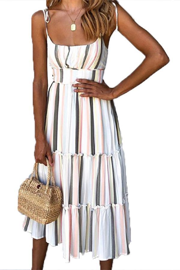Spaghetti Printed Paneled Beach Midi Dress