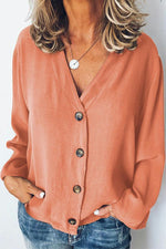 Button Down V-neck Long Sleeves Chiffon Blouse