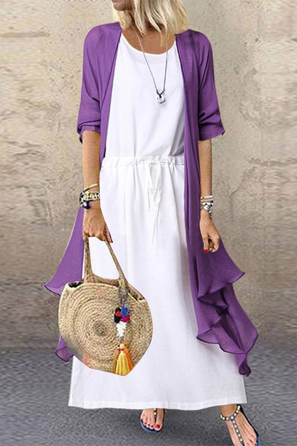 Casual Solid Set Linen Coat With Maxi Dress