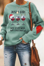 Just A Girl Who Loves Wine At Christmas Letter Wine Glass Heart Print Sweatshirt