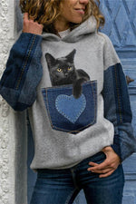 Color-block Lovely Black Cat Print Sports Fashion Hoodie