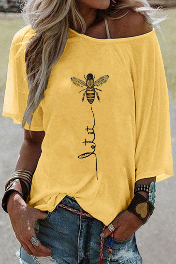 Casual Bee Print Crew Neck Short Sleeves T-shirt