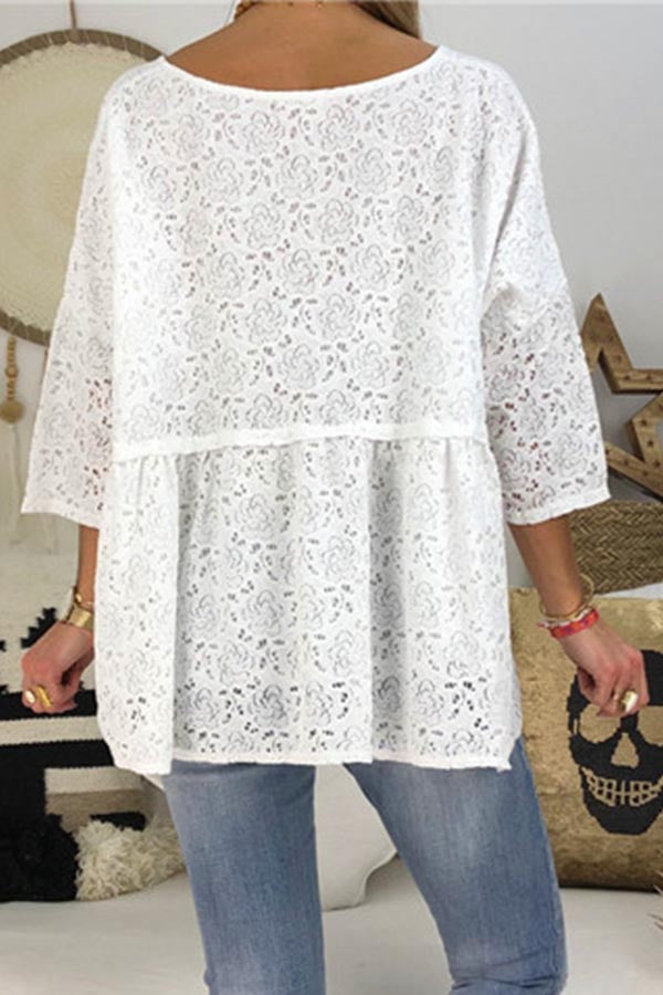 Solid Casual Lace Hollow Blouse
