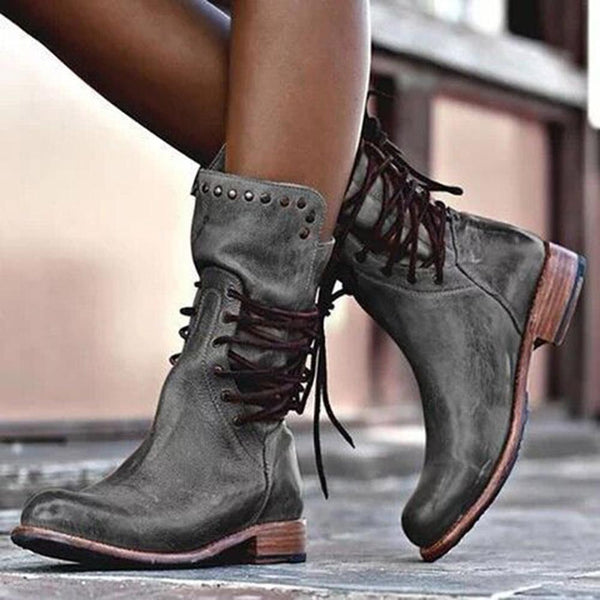 Rivet Lace-up Closed Toe Low Heel PU Boots