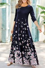 Floral Casual Round Neck Maxi Dress