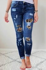 Street Fashion Cutout Leopard Print Side Pockets Jeans
