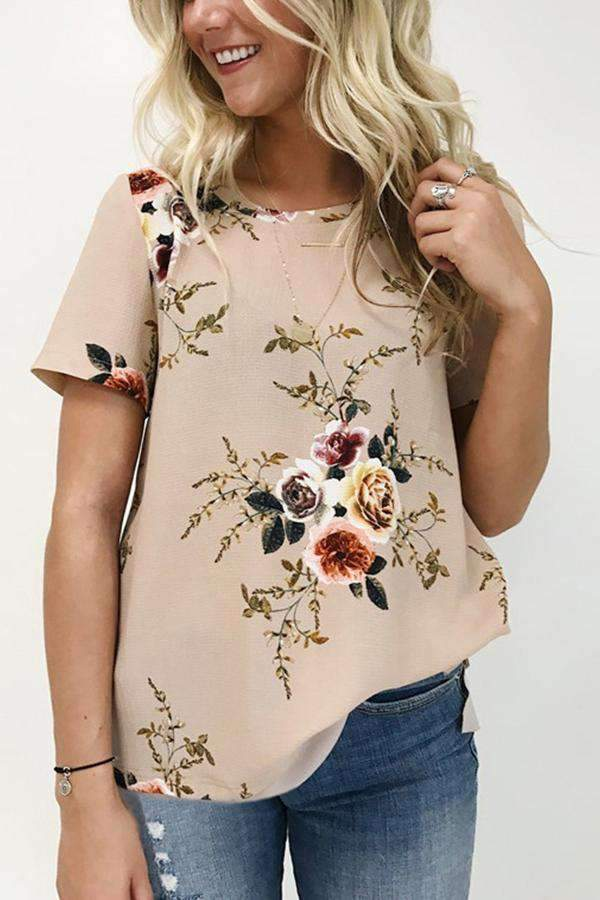 Floral Print Short Sleeves Casual T-shirt