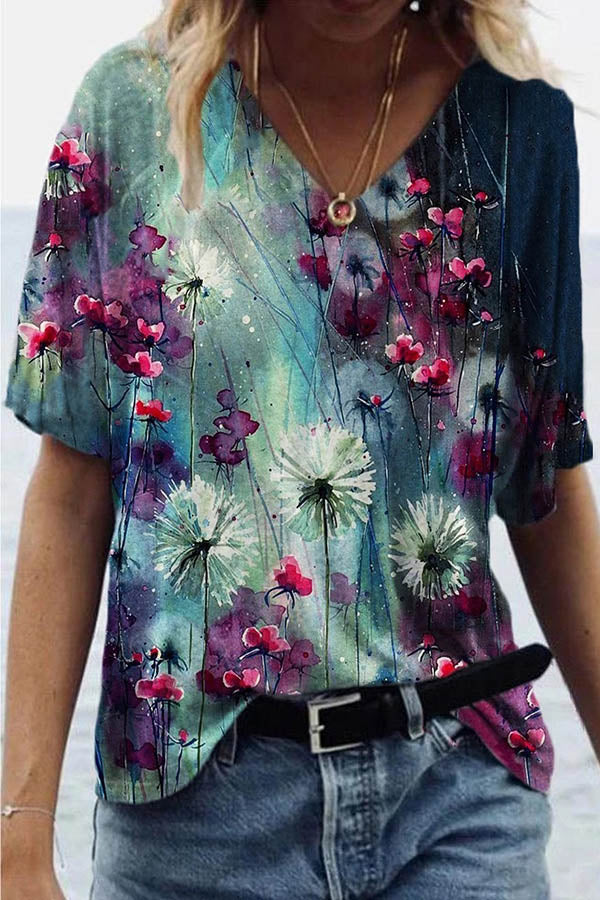 Artistic Dandelion Gradient Painting Print Shift T-shirt