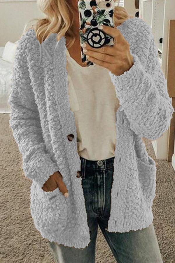 Solid Side Pockets Buttons Down Fuzzy Cardigan