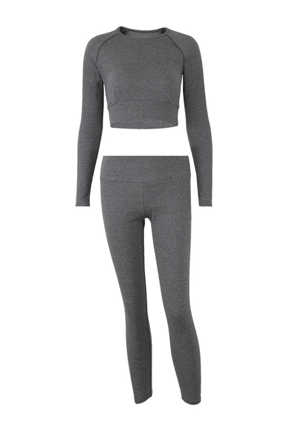 Sports Solid Raglan Sleeve Cropped Top With Leggings Ribbed Two Pieces Set