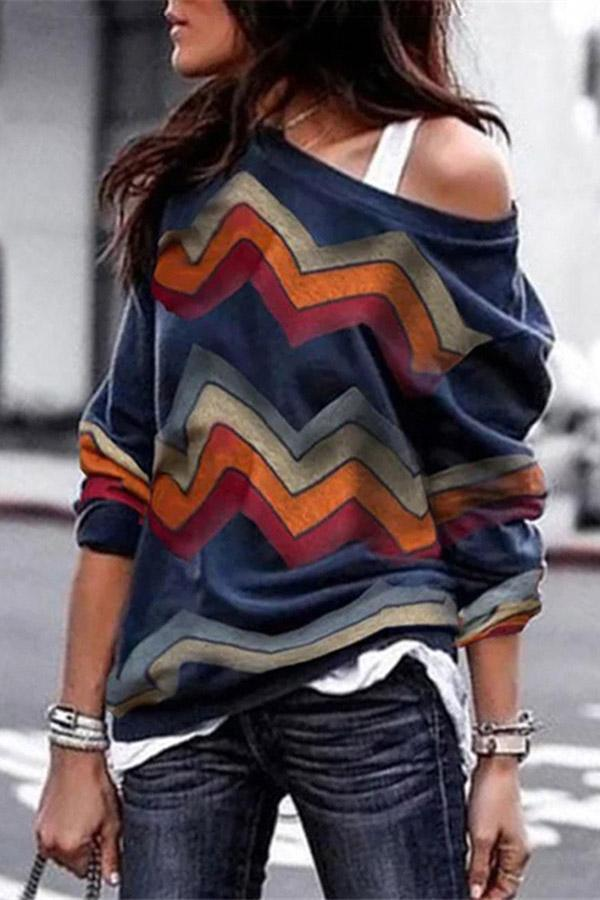 One Shoulder Geometric Print Casual T-shirts