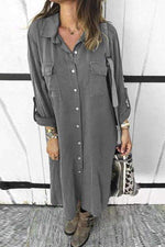 Button Down Adjustable Sleeves Shirt Dress