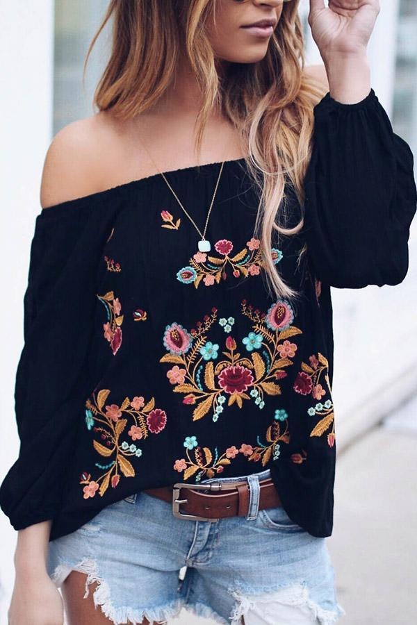Off Shoulder Embroidered Bishop Sleeve Chiffon Blouses