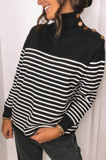 Women Casual Striped Jacquard Turtleneck Buttoned Knitted Ribbed Sweater
