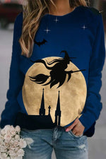 Happy Halloween Witch Flying Broom Bat Moon Castle Print Sweatshirt