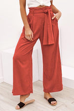 Solid Self-tie Pockets Casual Wide Leg Pants