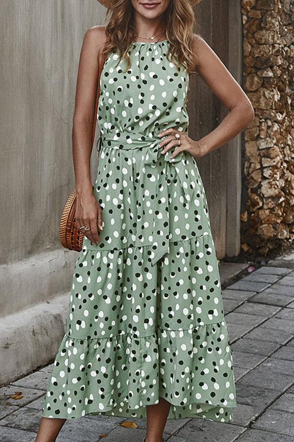 Polka Dots Sleeveless A-line Holiday Maxi Dress