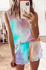 Sleeveless Blouse With Short Pants Two-Pieces Set