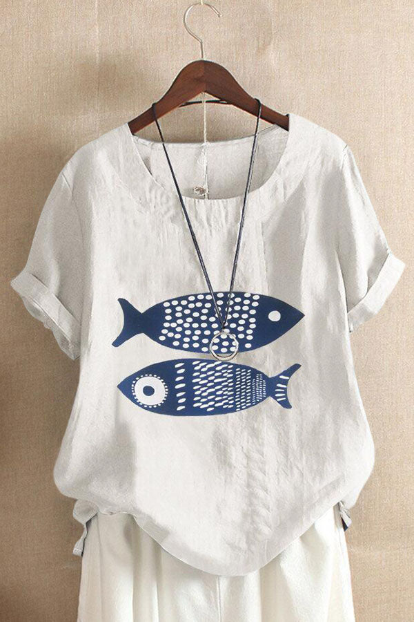 Fish Print Paneled Short Sleeves Casual Blouse
