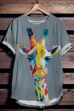 Colorful Giraffe Print Paneled Cartoon T-shirt