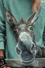 Cartoon Donkey Print Paneled Casual Long Sleeves T-shirt