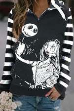 Halloween Skull Print Striped Paneled Drawstring Hoodie