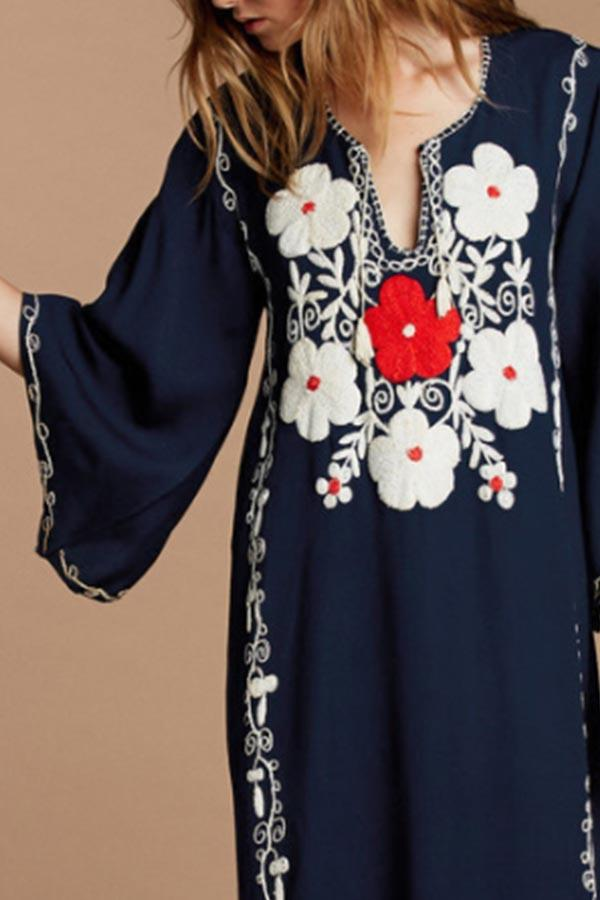 Holiday Floral Embroidery Drawstring Maxi Dress