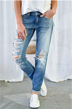 Casual Solid Paneled Cutout Side Pockets Jeans