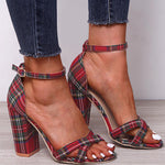 Casual Plaid Open High Heel Sandals