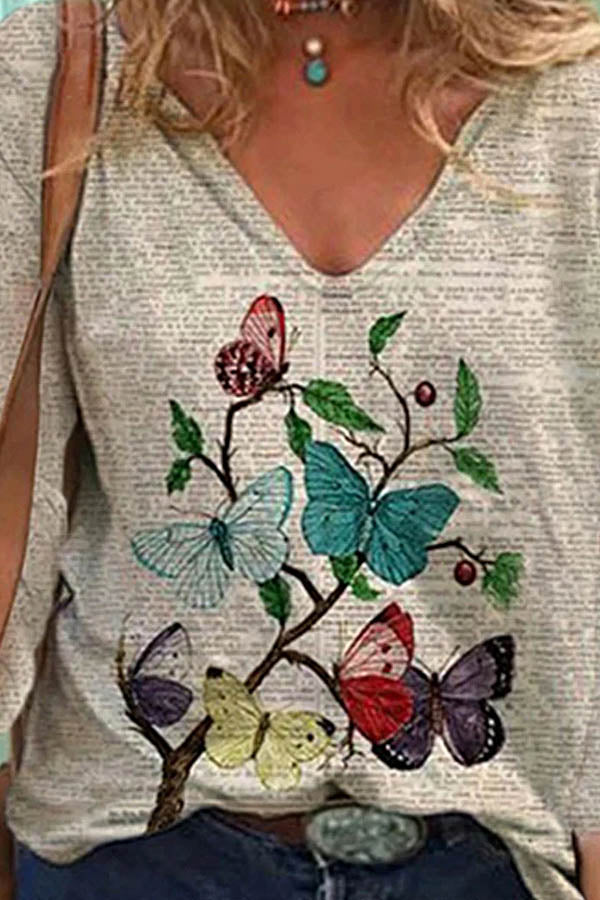 Literary Colorful Butterfly With Branches Print V Neck Shift T-shirt