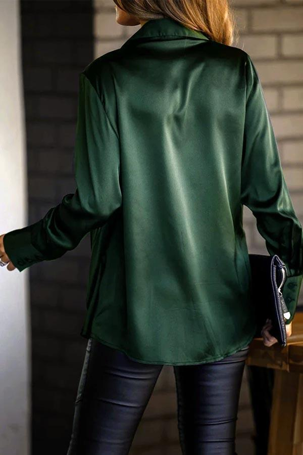 Elegant Solid V-neck Buttoned Long Sleeves Shirt