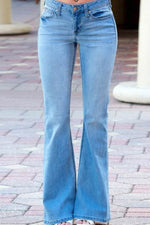 Casual Solid Paneled Side Pockets Bell-bottomed Jeans