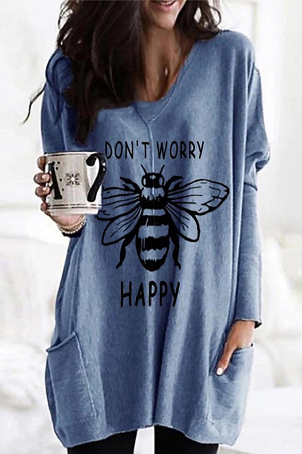 Bee Letter Print Paneled V-neck Side Pockets Casual T-shirt