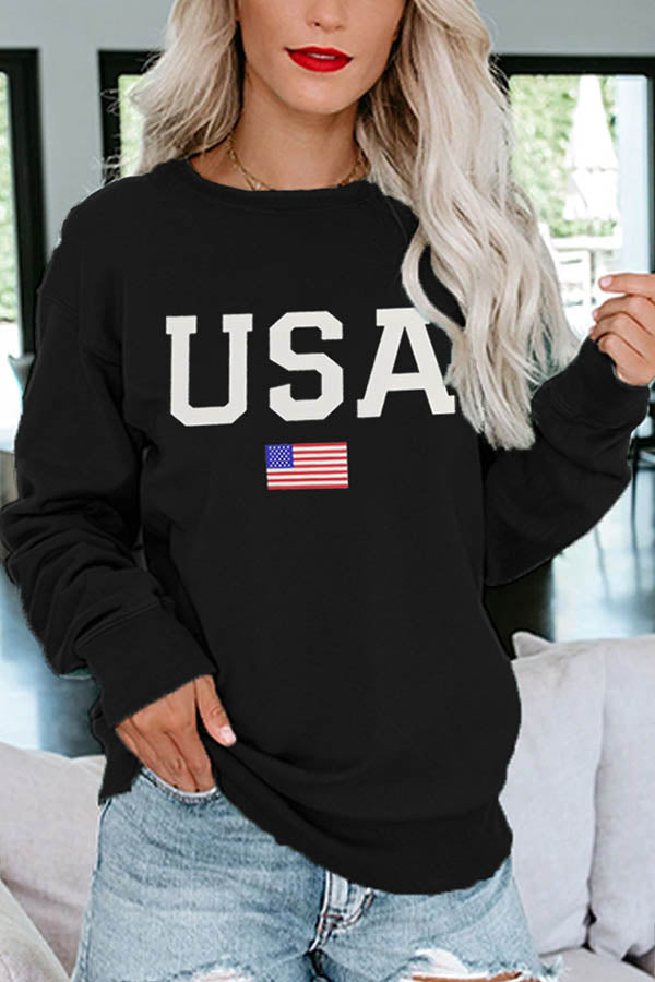 USA Letter American Flag Print Long Sleeves Classic Daily T-shirt