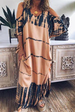 Gradient Tie-dyed Cold Shoulder Scoop Neck Maxi Dress