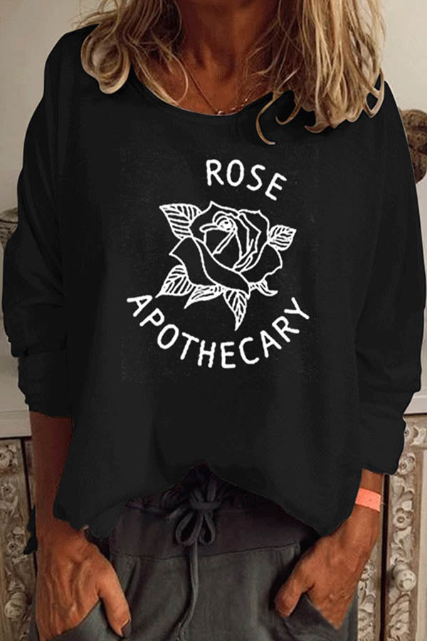 Rose Apothecary Print Crew Neck Long Sleeves T-shirt