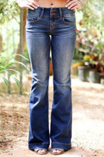 Casual Solid Side Pockets Bell-bottomed Jeans