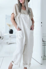 Casual Pockets Stripe Jumpsuit