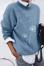 Dandelion Jacquard Knitted Paneled Loose Daily Sweater