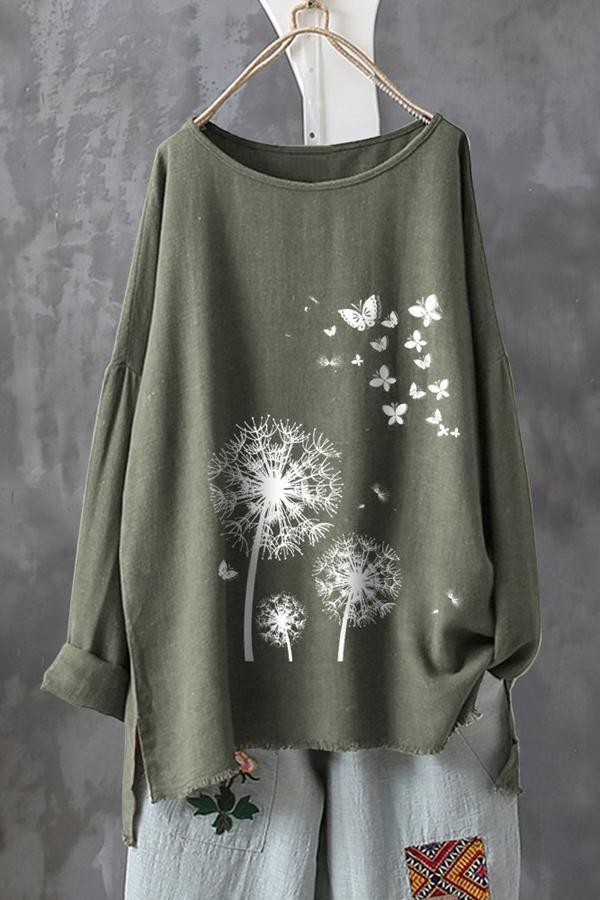 Casual Floral Butterfly Print Slit Long Sleeves Linen T-shirt