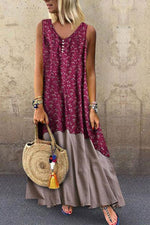 Bohemian Print Splicing Maxi Dress