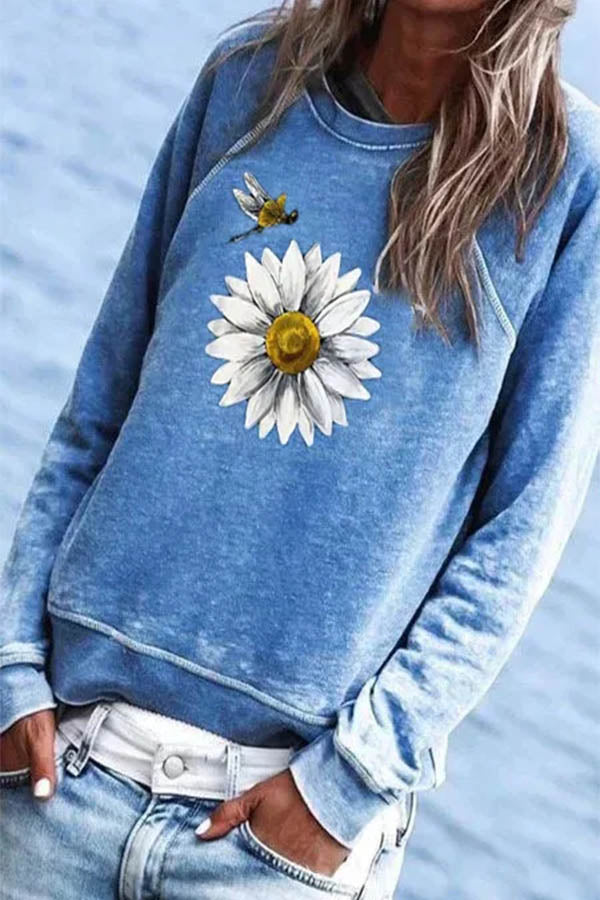 Daisy Print Paneled Long Sleeves Casual Sweatshirt