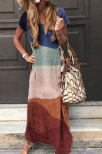 Gradient Color-block V-neck Maxi Dress
